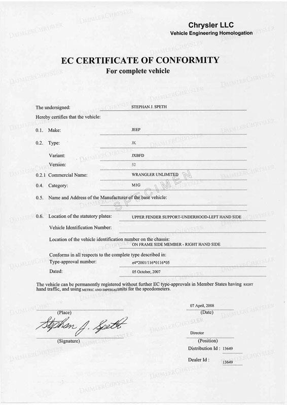 Certificat de conformité Chrysler Gratuit
