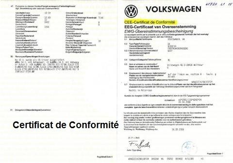 Certificat de Conformité Européen : Immatriculation d'une voiture importée en France