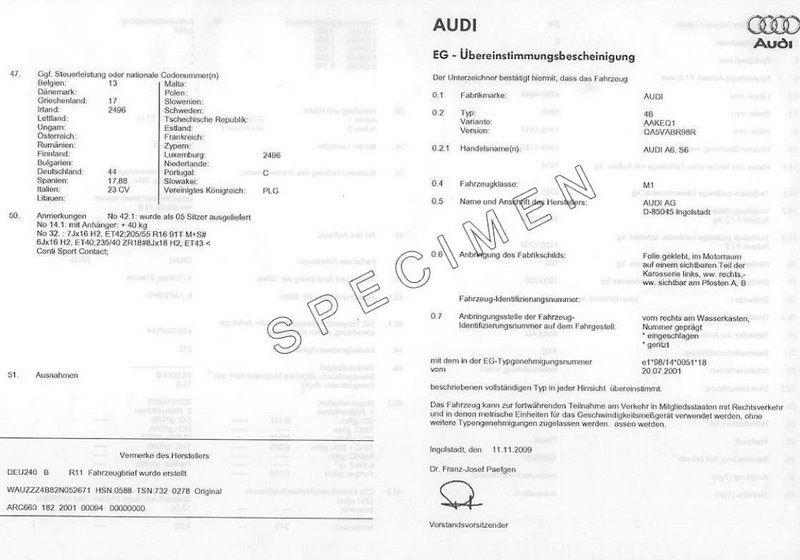 Certificat de conformité ou Certificat de conformité Européen COC