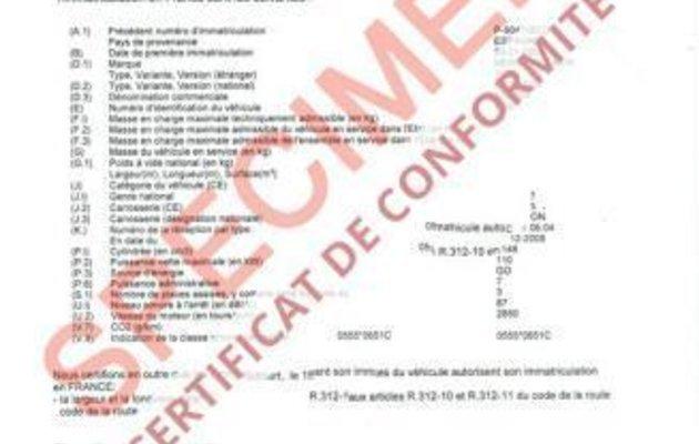 Certificat de conformité pour faire la carte grise ANTS