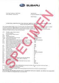 Certificat de conformité Subaru Gratuit