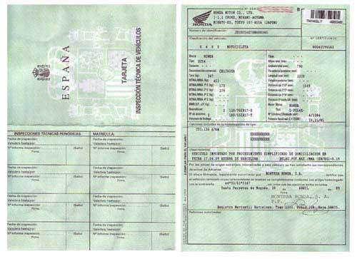 Certificat de conformité voiture Espagnole