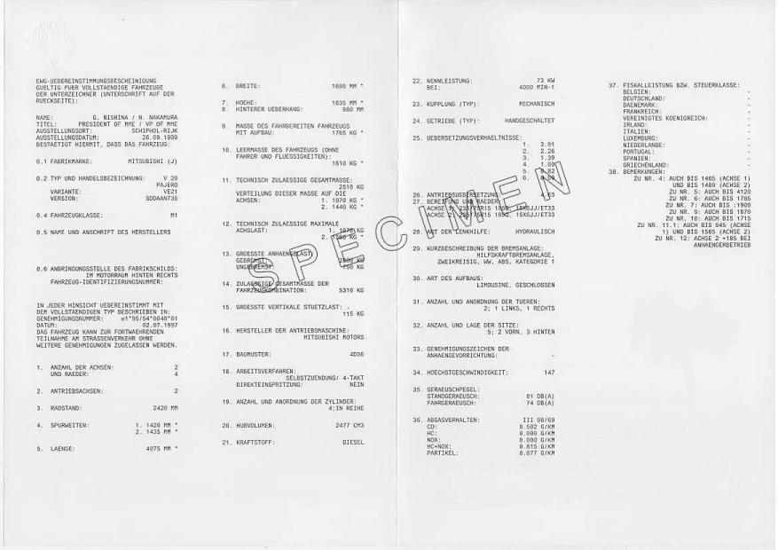 Certificat de conformité italien