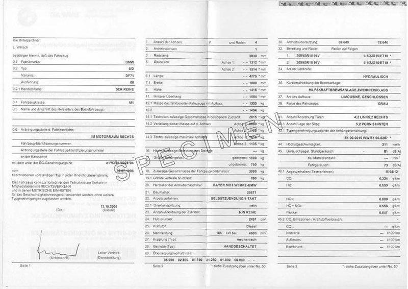 Immatriculation véhicule Bmw : le certificat de conformité européen Bmw
