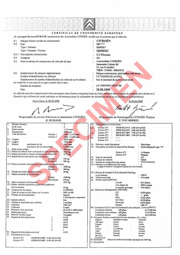Immatriculation véhicule Citroen : le certificat de conformité européen Citroen