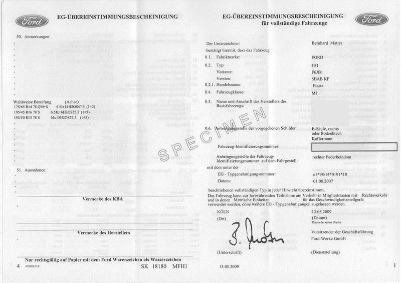 Immatriculation véhicule Ford : le certificat de conformité européen Ford