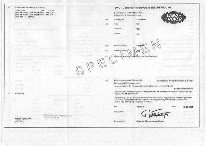 Le prix du Certificat de Conformité européen Land Rover est à  230 €