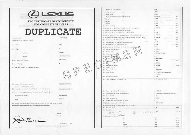 certificat conformit lexus coc lexus france. Black Bedroom Furniture Sets. Home Design Ideas