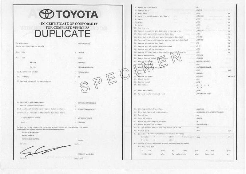 Qu'est-ce qu'un certificat de conformité Toyota