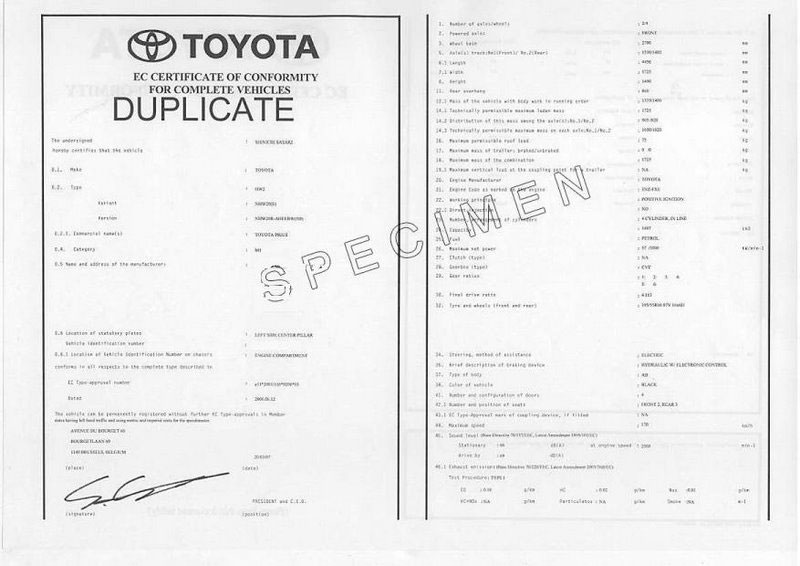 Certificat de conformité TOYOTA France