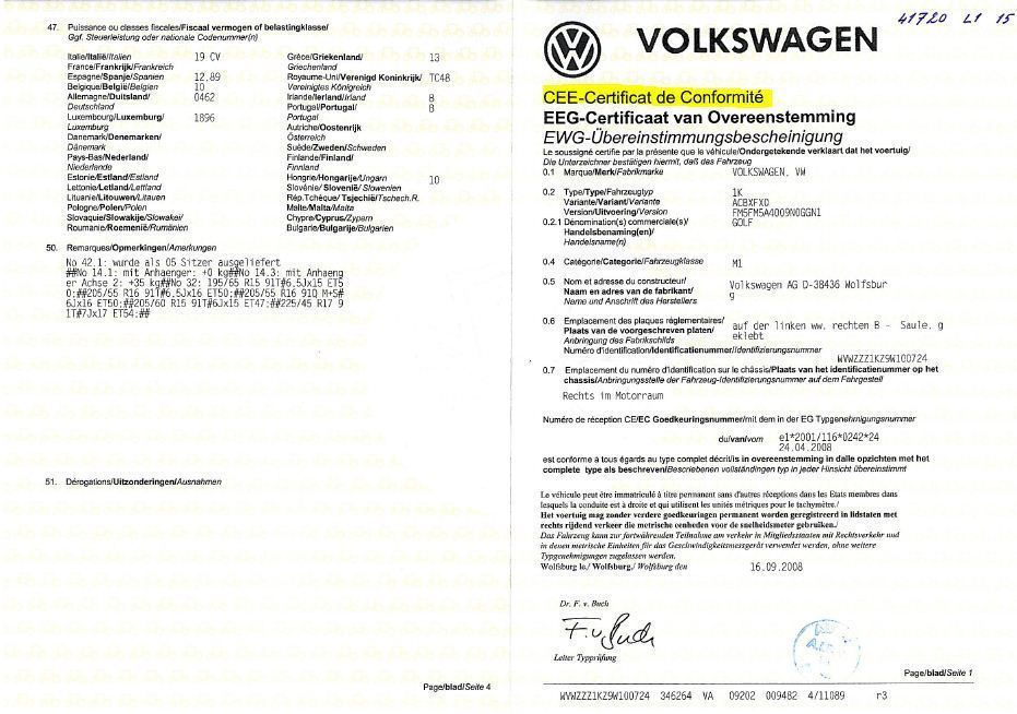 Qu'est-ce qu'un Certificat de Conformité Volkswagen?