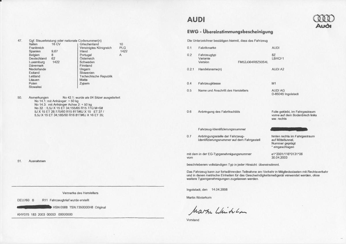 Qu'est ce qu'un certificat de conformité Audi
