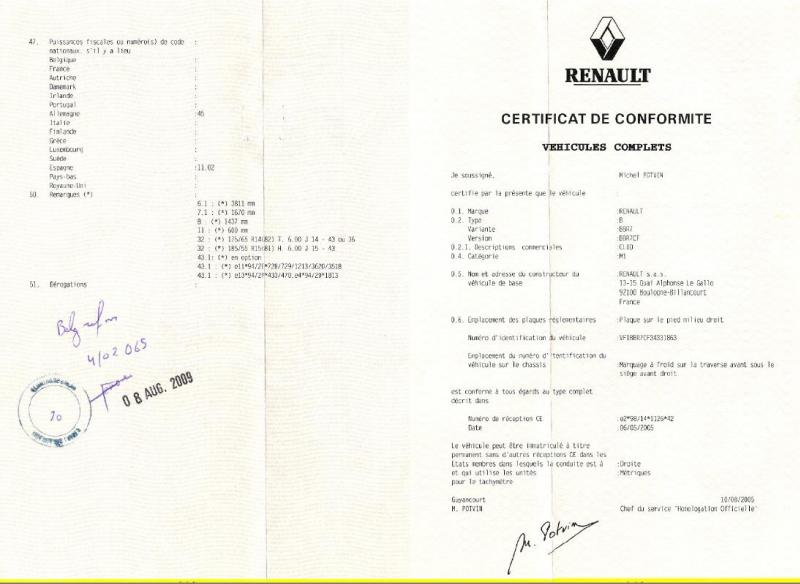 certificat conformit renault coc renault france. Black Bedroom Furniture Sets. Home Design Ideas