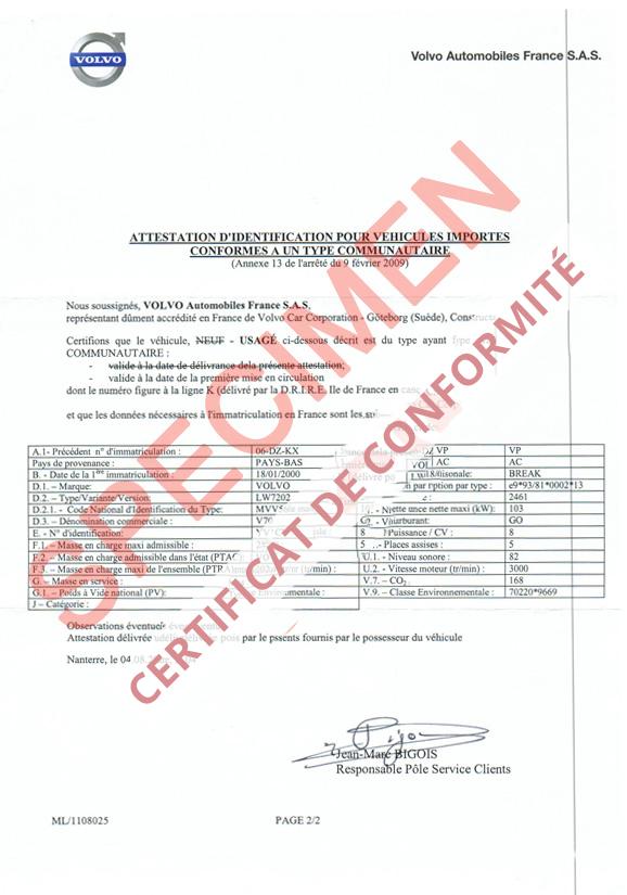 Service d'obtention de certificat de conformité pour voiture importé